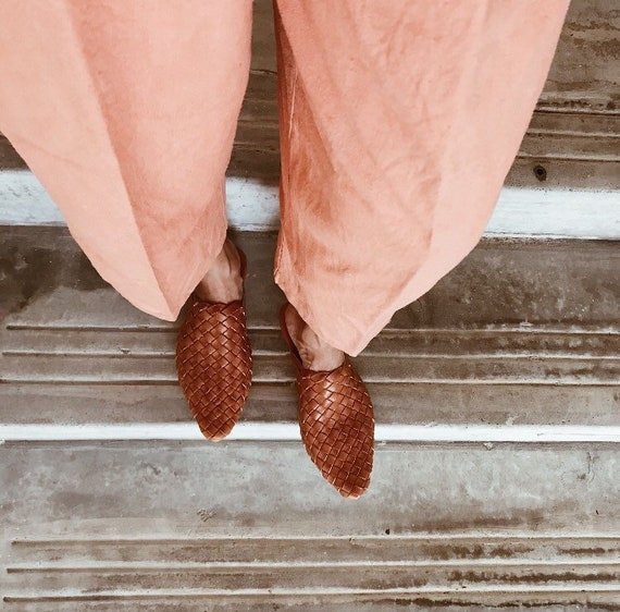 The Paloma Handmade Woven Leather Mule   Chestnut by Etsy