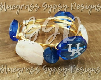 University of Kentucky Wire Wrapped Bangle, UK Bracelet, Bourbon and Boweties Inspired