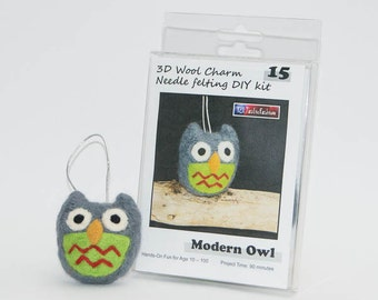 Needle Felting DIY Kit - Modern Owl 3D Wool Charm - Ship from USA