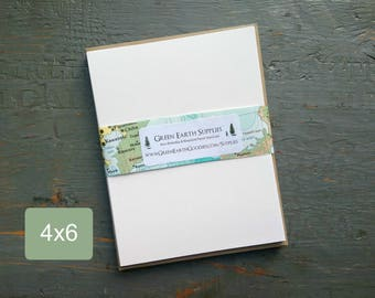 """25 4x6 FLAT Cards with Kraft Envelopes, 100% recycled, 4 x 6"""" Flat cards and Envelopes, 80-100lb cover stock, white or natural white cards"""