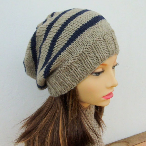KNITTING PATTERN CAMPUS Hat/Striped Slouchy Beanie/Woman