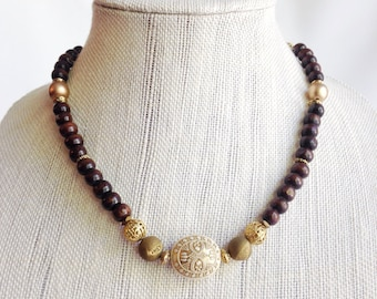 Wood bead necklace jewelry, Chunky bead necklace, bohemian statement necklace, earthy tribal necklace, ethnic jewelry, brown and gold druzy