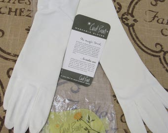 "UNUSED Vintage 1960s WHITE Carol Brent ELBOW Length 15-1/4"" Nylon Gloves Sz 7-1/2 Original Package Wedding Prom Bridal Special Occasion"