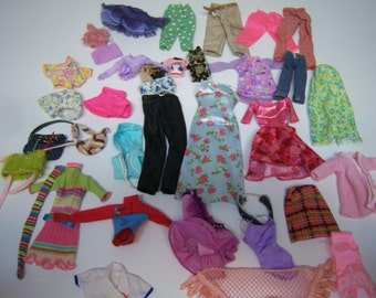 Vintage Barbie Clothing, Originals, Handmade, Over 30 Items, One Stain, Some with Tags, Pants, Tops, Dresses, Swimsuits, Skirts And More