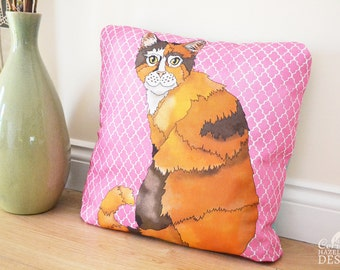 Kitty Cat Illustration Throw Cushion, Handmade Pillow, Decorative CushionCushion Cover, Throw Cushion, Pillow, Decorative Cushion