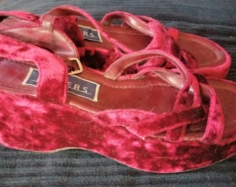 Vintage burgundy velvet platform shoes, size 8, from Bakers