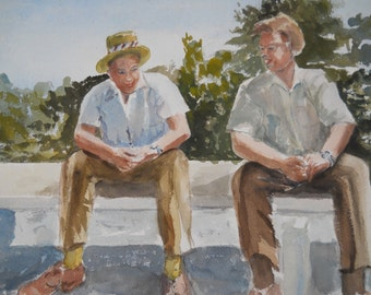 Original Watercolor Painting of Two Friends Sitting Outside On A Sunny Day