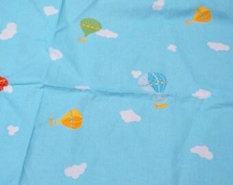 Fabric blue sky white clouds yellow blue green pink air balloons fabric Cotton Fabric Kids Fabric Scandinavian Design Scandinavian Textile