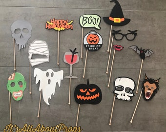 Halloween Photo Booth Props -- Halloween Horror Movies Photo Props -- Halloween Party Decorations