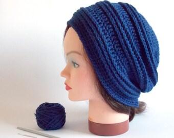 PATTERN: crochet pattern, crochet beanie, easy crochet pattern, crochet slouchy hat, beanie pattern, ribbed beanie, hat pattern, crochet hat