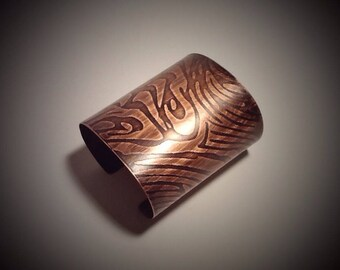 "Copper Cuff- 3"" Zebra Pattern"