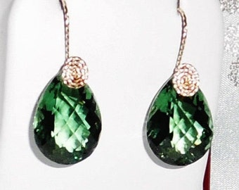 Natural 33cts Pear Green Amethyst gemstones, 14kt yellow gold Pierced Earrings