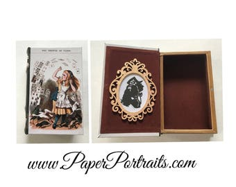 Alice in Wonderland Book Box, Trinket Box, with Real Hand Cut Silhouette of Alice and the Mad Hatter