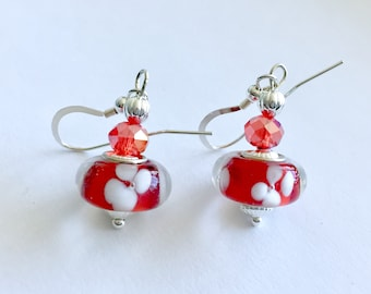 Floral red and white drop earrings, red flower earrings, Mother's Day gift