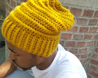 Urban Slouchy Beanie, Hipster Beanie, Oversized Skull Hat,  Mustard Yellow Beanie Hat, Gold accessories