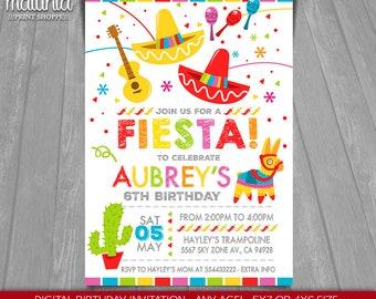 Fiesta Birthday Invitation - Cinco De Mayo Invitation - Mexican Fiesta Printed or Printable Invitation - Fiesta Invitation Party (MXIN02)