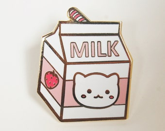 Strawberry Milk Carton Hard Enamel Pin