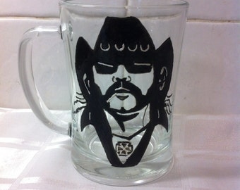 Lemmy MotorHead Hand Painted Pint Glass Tankard