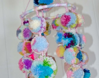 "Nursery Pom Pom Mobile with Hearts - 24 Pom Poms - 4 Wool Hearts -  3 Tassels   Measures 24 Long Ring Measures 8"" Across"