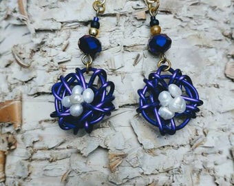 Baltimore Ravens beaded Crystal Nest earrings with pearl eggs.