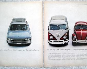 1965 VW Bus Station Wagon + Bug or 1 AMC-Original 2 Page 13.5 * 10.5 Magazine Ad