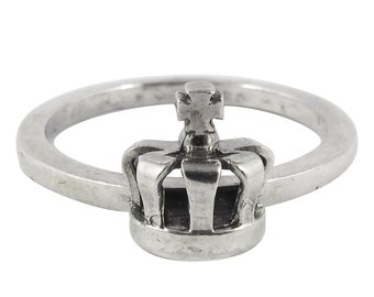 William Griffiths Sterling Silver Small Queens Crown Stack Ring