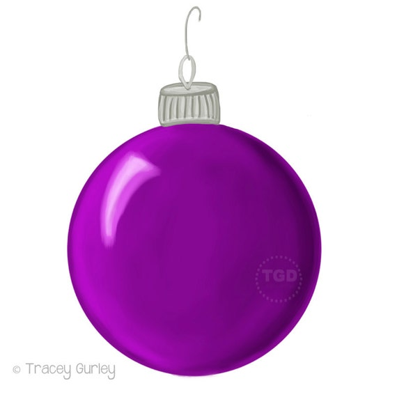 purple christmas ornament clip art hand painted clip art rh etsy com ornament clip art coloring pages ornament clip art free