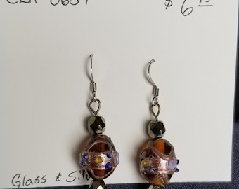 Earrings- glass and silver dangles