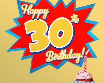 Happy 30th Birthday Party Wall Decal - #58000