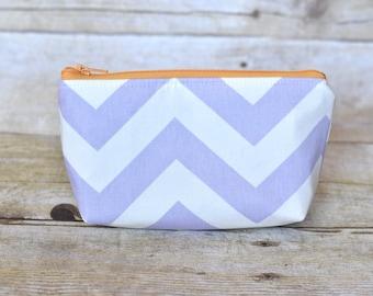Lipstick pouch - zipper pouch - lavender pouch - lipstick bag - small pouch - purple chevron bag - purple chevron pouch -  makeup bag