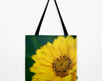Large Tote, Small Bag, Macro Photography, Green and Yellow, Daisy Flower, Yoga Bag, Large Beach Tote, Big Bag, Women's Purse, Reusable Bag
