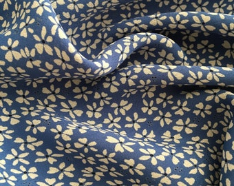 Blue and White Daisy Rayon Crepe, Floral Rayon Yardage, Vintage Style Fabric by the Yard