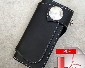 PDF Pattern leather template long leathercraft model with cover wallet DIY