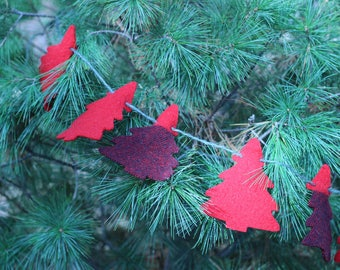 Rustic Wool Christmas Ornaments, Red and Black Recycled Wool Tree Garland or Bunting