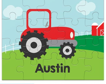 Personalized Tractor Puzzle for Kids - Farm Jigsaw Puzzle with Child's Name, 20 pieces, 8 x 10 inches