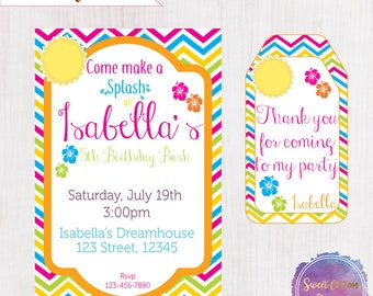 Pool Party invitation/Pool Birthday/ Girl Pool Party with thank you note
