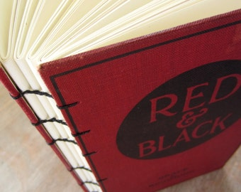 Blank Book Journal Vintage 1919 Red and Black, Ready To Ship