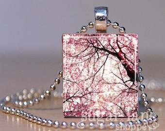 Under the Cherry Tree Necklace (MC1 - Spring, Pink, Tree) - Scrabble Tile Pendant with Chain