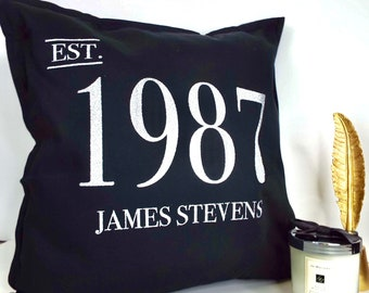 Personalised Glitter cushion Birth Year & name * FREE SHIPPING*