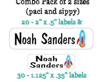 Combo Pack: 50 Waterproof Kid's Sippy Cup & small Paci size Labels - Dishwasher Safe - great on food container, bottle, lunch box, jars C002