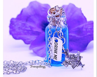 Drink Me Necklace , Alice In Wonderland ,glass vial  2ml Bottle Necklace By: Tranquilityy