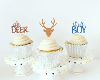 Oh Deer It's A Boy Cupcake Toppers / Baby Shower / Hunting Baby Shower / Set of 12