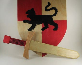 Wooden sword and shield set- Wooden sword - Wooden shield - Waldorf Toys - Pretend play - Knight Toys