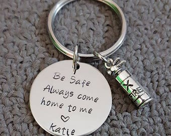 Be Safe Key Chain w/ Fire extinguisher, Always Come Home to Me Key Chain, Handstamp, Firefighter Gift, Be Safe Gift