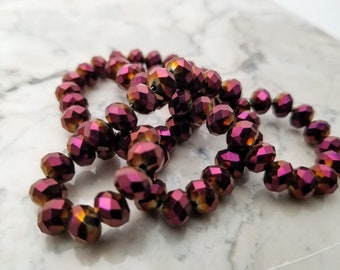 Metallic magenta Gold beads, faceted rondelle, glossy beads, 6mm x 8mm, full strand, approx. 70 beads