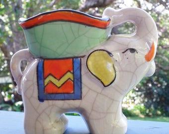Vintage Ceramic Elephant Art Deco Elephant Figure hand painted Made in Japan Tashiro Shoten. 1930s Elephant with howdah. Bright Deco Colours