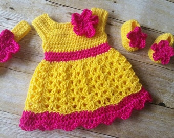 Crochet Baby Dress, Yellow Hot Pink Baby Outfit, Handmade Baby Headband, Newborn Baby Outfit, Baby Shower Gift, Infant Girl Dress, Baby Gift