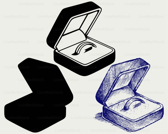 Wedding ring box svgwedding ring clipartring svgsilhouettering