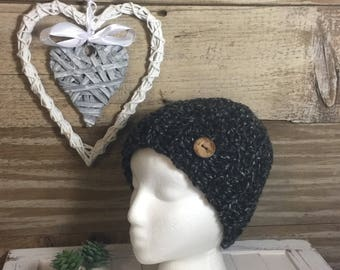 Handmade Crochet Women's Messy Bun Hat - black/white/heather fleck