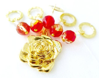 SALE - The Red Rose of Lancaster - Wars of the Roses Collection - Five Handmade Stitch Markers - 6.5mm (US 10.5) - Last Sets
